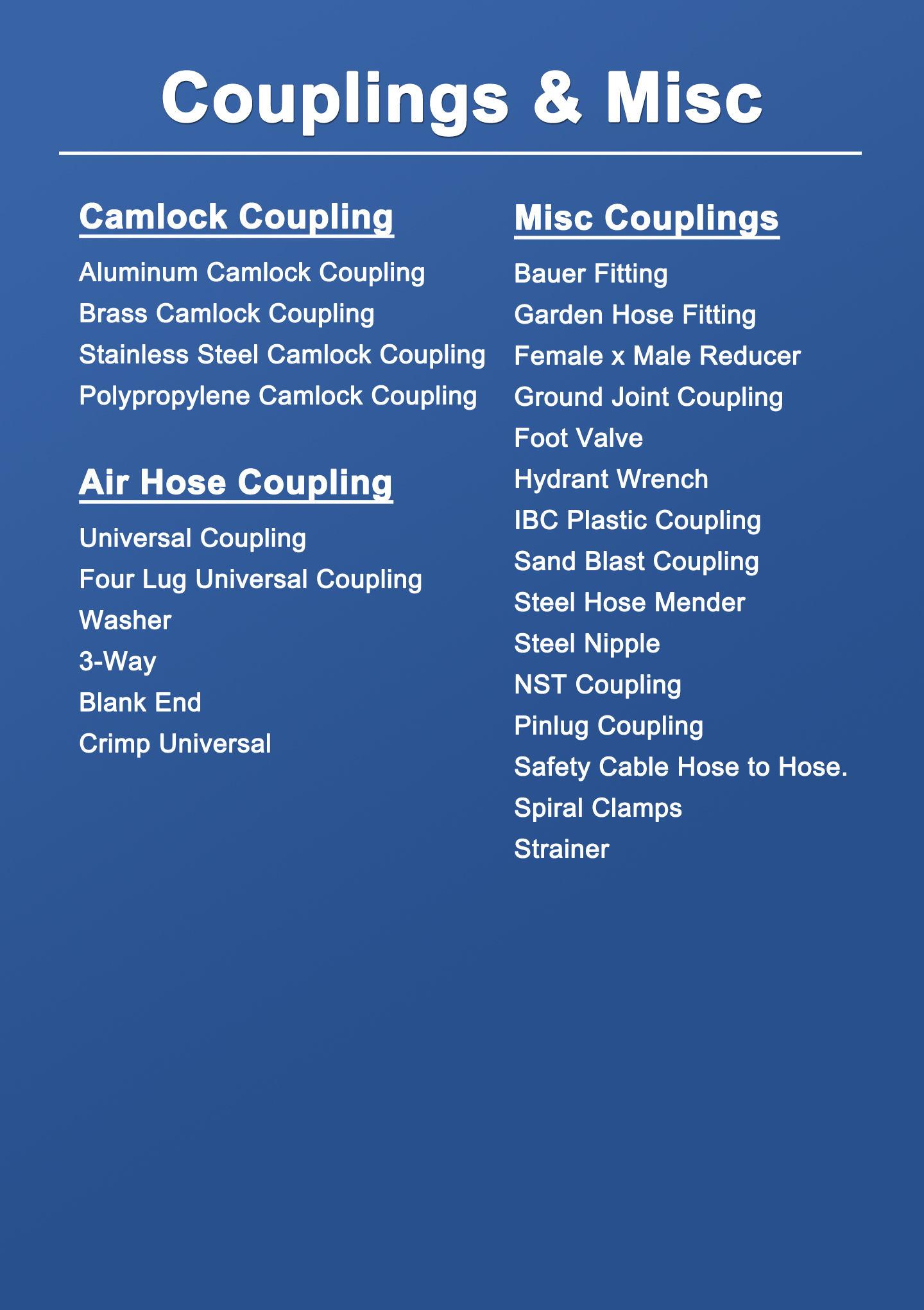 Couplings & Misc Datasheet